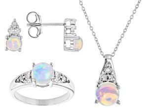 Multicolor Ethiopian Opal Rhodium Over Silver Jewelry Set  2.085ctw