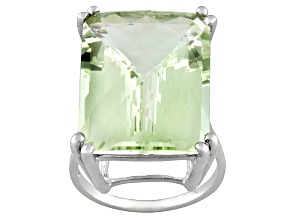 Womens Solitaire Ring Green Prasiolite 19ct Emerald Cut Sterling Silver