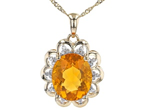 Orange Mexican Fire Opal 14K Yellow Gold Pendant With Chain .13ctw