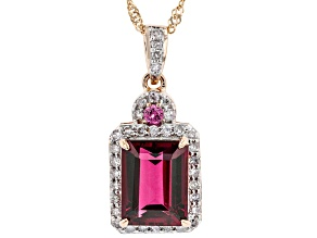 Pink Tourmaline With Pink Spinel And White Diamond 14k Rose Gold Pendant With Chain. 2.51ctw