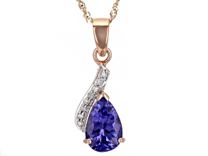 Blue Tanzanite 10K Rose Gold Pendant With Chain 1.16ctw