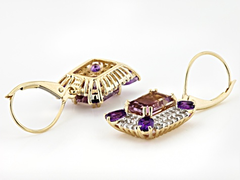 Bi-Color Ametrine 10K Yellow Gold Earrings 4.40ctw