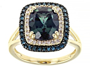 Blue Lab Created Alexandrite 10k Yellow Gold Ring 3.42ctw