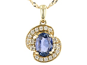 Ceylon Blue Sapphire 10K Yellow Gold Pendant With Chain .90ctw