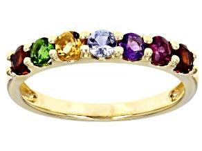 Round Multi-Stones 10K Yellow Gold Band Ring 0.76ctw.