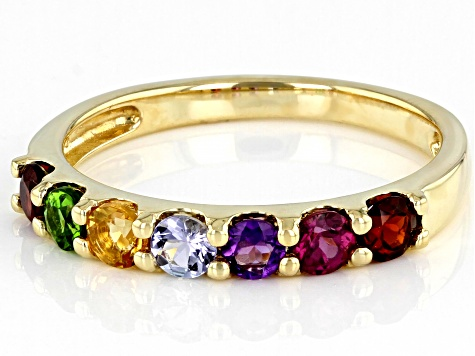Round Multi-Stones 10K Yellow Gold Band Ring 0.76ctw.