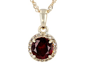 Red Anthill Garnet 14k Yellow Gold Pendant With Chain 0.82ctw