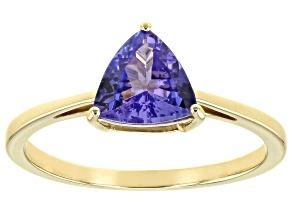 Blue Tanzanite 10K Yellow Gold Ring. 1.08ctw