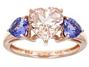 Pink Cor-de-Rosa Morganite Tanzanite 10K Rose Gold Ring 2.10ctw.