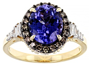 Tanzanite And White Diamond With Champagne Diamond 14K Yellow Gold Ring 3.29ctw