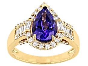 Blue Tanzanite 14K Yellow Gold Ring 2.67ctw