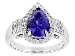 Blue Tanzanite Rhodium over 14K White Gold Ring 2.67ctw
