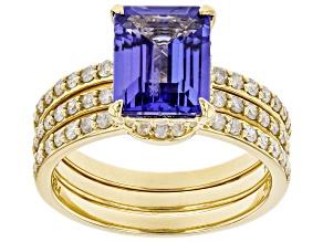 Blue Tanzanite 14K Yellow Gold Ring 3.09ctw