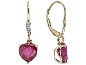 Red Mahaleo Ruby(R) 10K Yellow Gold Heart-Shaped Dangle Earrings 5.02ctw