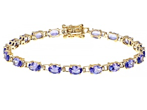 Blue Tanzanite 10K Yellow Gold Tennis Bracelet 7.82ctw