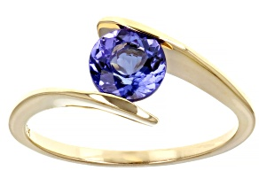 Blue Tanzanite 10K Yellow Gold Solitaire Ring 0.91ct
