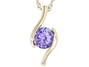 Blue Tanzanite 10K Yellow Gold Solitaire Pendant With Chain 0.81ct