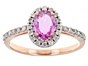 Pink Sapphire Rhodium Over 10K Rose Gold Ring 0.86ctw