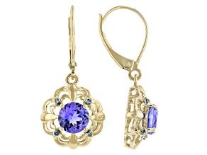 Blue Tanzanite 10K Yellow Gold Earrings 1.53ctw