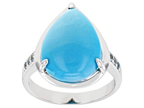 Blue Sleeping Beauty Rhodium Over 10k White Gold Ring 0.10ctw