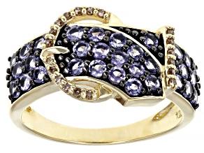 Blue Tanzanite 10K Yellow Gold Buckle Ring 1.21ctw