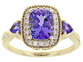 Blue Tanzanite 10K Yellow Gold Ring. 1.81ctw