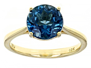 Blue Topaz 10K Yellow Gold Solitaire Ring 2.00ct