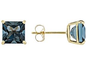 Blue Topaz 10K Yellow gold Stud Earrings 2.34ctw