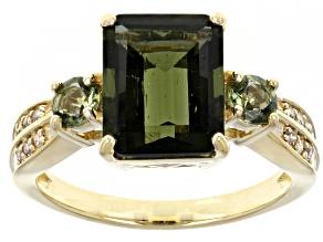 Green Moldavite 10K Yellow Gold Ring 2.52ctw