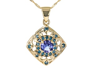 Blue Tanzanite 10K Yellow Gold Pendant With Chain 1.10ctw