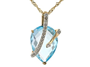 Sky Blue Topaz 10K Yellow Gold Pendant With Chain 4.78ctw