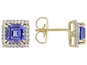 Blue Tanzanite With White Diamond 14k Yellow Gold Stud Earrings 2.28ctw