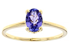 Blue Tanzanite 10k Yellow Gold Ring 0.75ctw