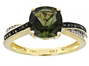 Green Moldavite 10K Yellow Gold Ring. 1.35ctw