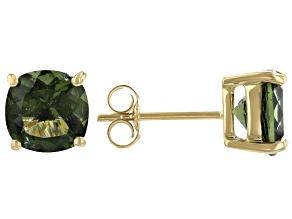 Green Moldavite 10K Yellow Gold Solitaire Stud Earrings 2.50ctw