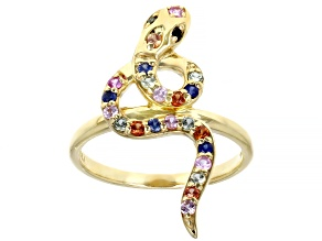 Multi-Color Sapphire 10K Yellow Gold Snake Ring. 0.35ctw