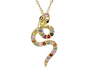 Multi Color Sapphire 10K Yellow Gold Pendant With Chain. 0.35ctw