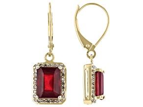 Red Mahaleo(R) Ruby 10k Yellow Gold Dangle Earrings 4.15ctw