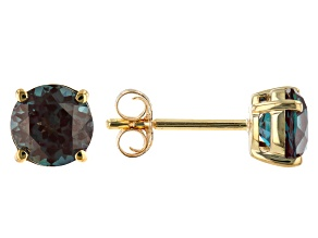 Blue Lab Created Alexandrite 10k Yellow Gold Stud Earrings 1.70ctw