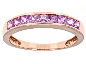 Pink Sapphire 10K Rose Gold Band Ring 0.77ctw