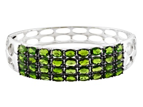 Green Russian Chrome Diopside Sterling Silver Bangle Bracelet 14.68ctw.