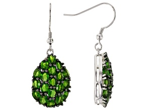 Green Russian Chrome Diopside Sterling Silver Earrings 6.26ctw.