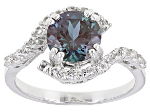 Blue Lab Created Color Change Alexandrite Rhodium Over Sterling Silver Ring 2.44ctw.