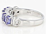 Blue Tanzanite Rhodium Over Sterling Silver 5-stone Band Ring 1.51ctw