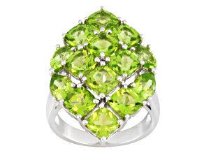 Green Peridot Sterling Silver Ring 7.28ctw.