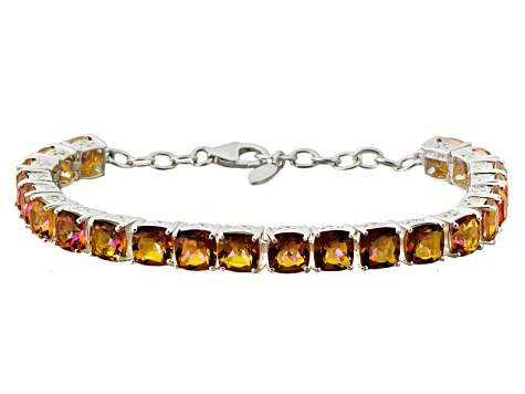 Mystic® Orange Quartz Sterling Silver Adjustable Tennis Bracelet 17.60ctw.