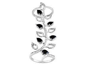 Black Spinel Sterling Silver Ring 1.34ctw,