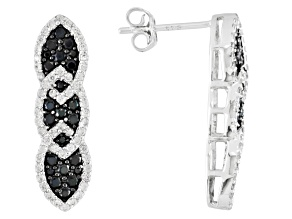 Black Spinel And White Zircon Sterling Silver Earrings 1.55ctw.