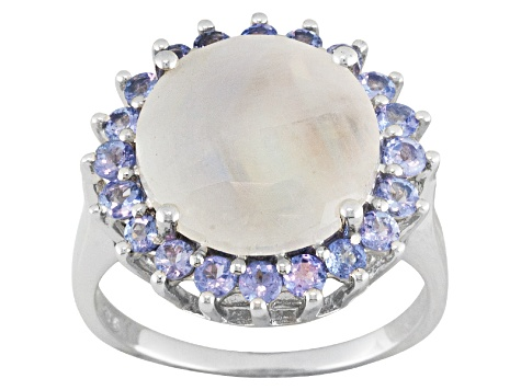 Multi Color Rainbow Moonstone And Tanzanite Sterling Silver Ring .51ctw.