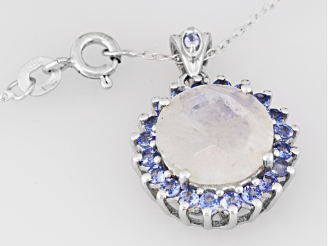 Multi color rainbow moonstone sterling silver pendant with chain .52ctw.